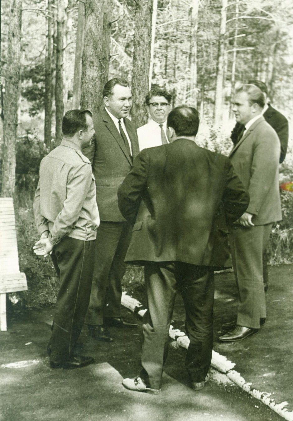 Pilot-cosmonaut Yuri Gagarin among members of the Tatar Oblast Committee of the Communist party in the youth camp Volga in Borovoye Matyushino settlement. August, 1967